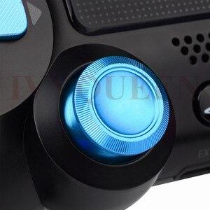 Image 2 - Ivyueen Dành Cho PlayStation 4 PS4 Pro Slim Bộ Điều Khiển Xanh Dương Nhôm Analog Ngón Tay Cái Gậy + Kim Loại Dpad Đạn 9 Mm Nút mod Kit