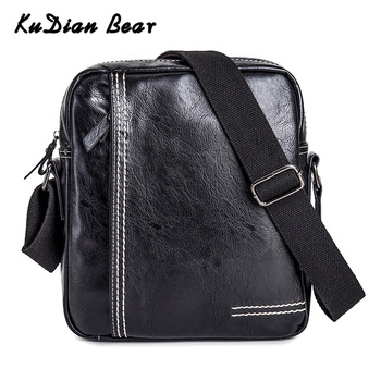 KUDIAN BEAR PU Leather Men Bag Shoulder Waterproof Fashion Business Men's Crossbody Bags Messenger Black Bolsos BIG027 PM49