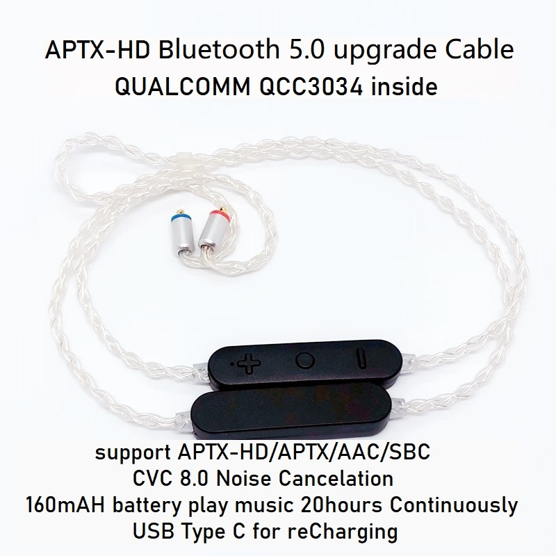 QCC3034 APTX HD Bluetooth Cable 5.0 APTX LL APTX AAC 2PIN MMCX Type C OCC Silver Plated Cable MIC For IE80S SE535 UE18 W4R TF10