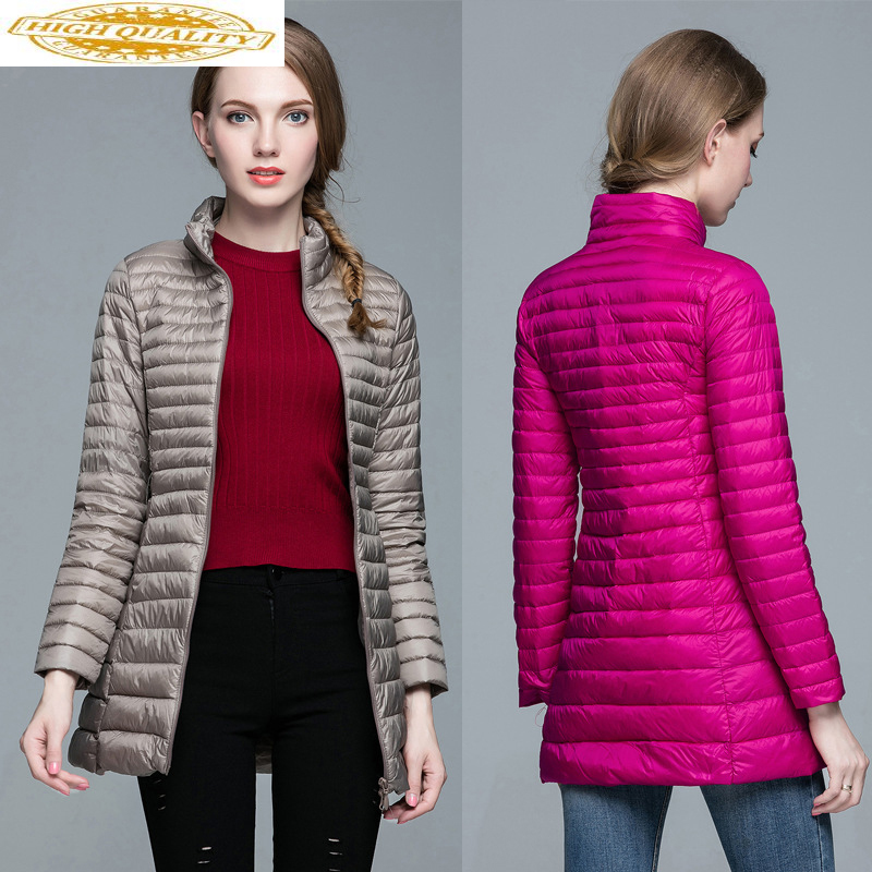 Women's Down Jacket Autumn Winter Ultra Light Down Jacket Women Plus Size Long Duck Down Puffer Coat 2020 KJ2491