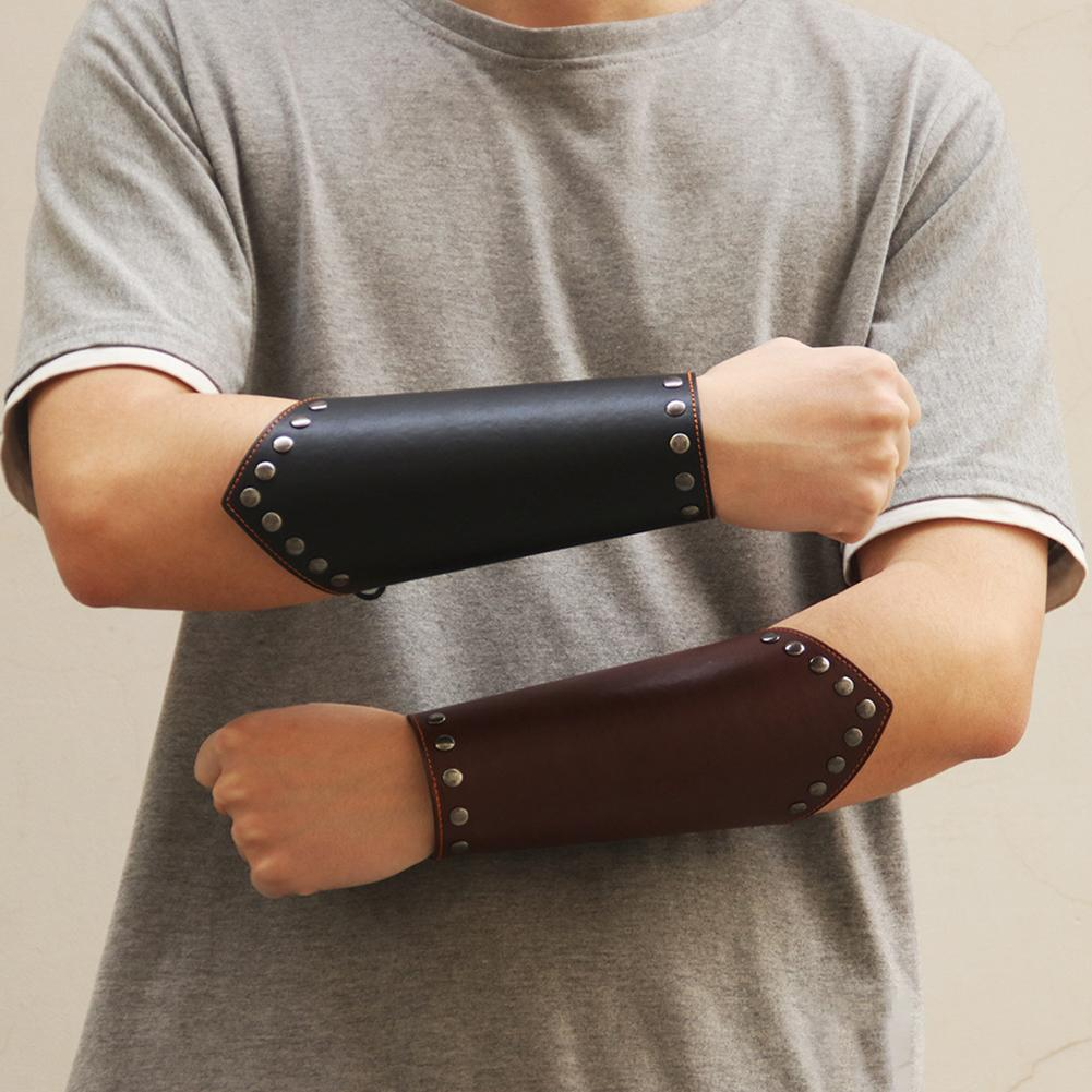 Punk Bracelet Male Wax Rope Woven Wristband Simple Wide Leather Bracelet Personality Riding Wristband