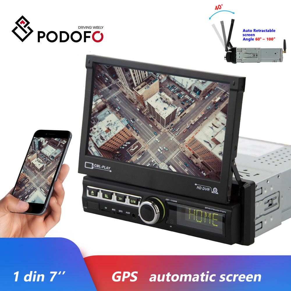 Podofo 1 Din 7'' GPS Autoradio Car Radios Android Mirror Link Car Multimedia Player Touch Screen Bluetooth USB FM Audio Stereo image