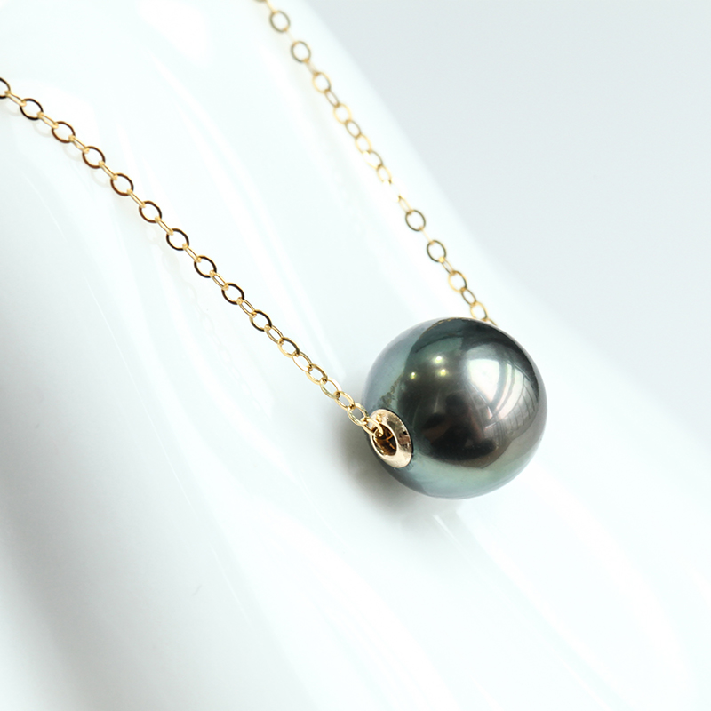 Simple Classic Design Tahitian Sea Water Single Black Pearl Pendant Necklace Fashion Necklaces for Women Gold Necklace Women - 2
