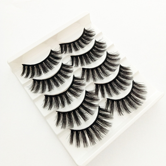 5 pairs of 3D false eyelashes handmade soft mink eyelashes natural thick long eyelashes makeup extension eyelash tool 5