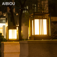 Aibiou New Arrival Outdoor Waterproof Square Garden Pillar Light Solar Landscape Lightings Wire Connection Courtyard Lamps