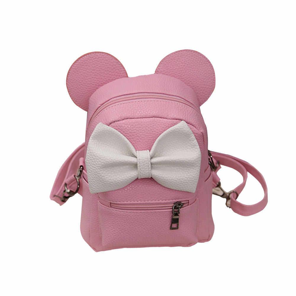 Nueva mochila de Mickey, Mini bolso de cuero de Pu para mujer, mochila agradable arco chicas adolescentes, mochilas para la escuela, mochila para el colegio, mochila para chica
