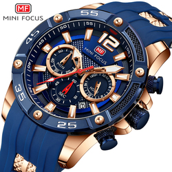 Minifocus grande dial azul preto ouro cronógrafo relógio masculino esporte relógios dos homens 2019 silicone banda militar relógios de quartzo