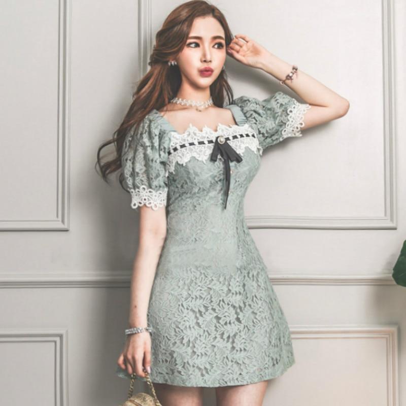 2020 Summer Puff Short Sleeve Bowknot A-Line Mini Sexy Cute Full Lace Dress Sweet Female Cloth Vestidos