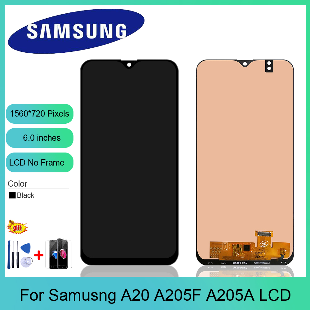 6.0 inch For Samsung A20 LCD screen display with frame assembly Replacement repair parts A205 <font><b>A205F</b></font> <font><b>SM</b></font>-<font><b>A205F</b></font> A205FN display image
