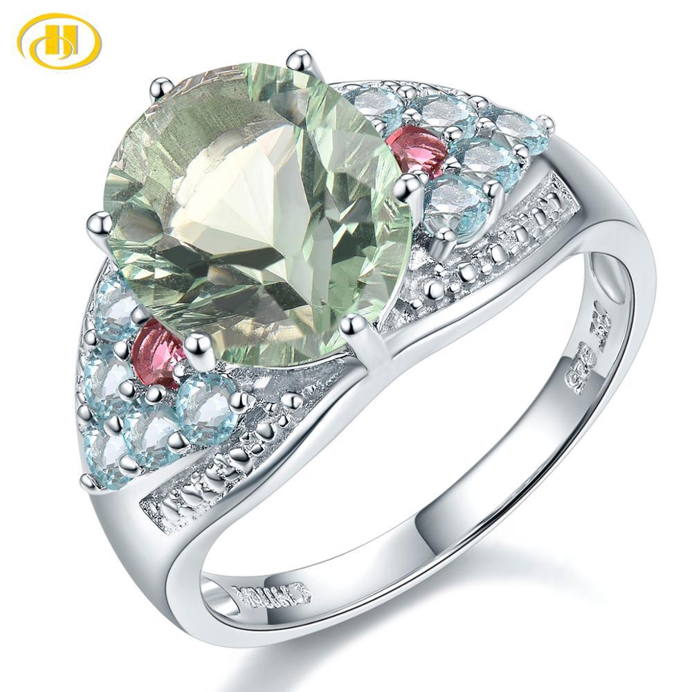 Hutang vert Fluorite 925 bague en argent vrais gemmes Tourmaline Apatite solide 925 en argent Sterling bagues de fiançailles bijoux fins