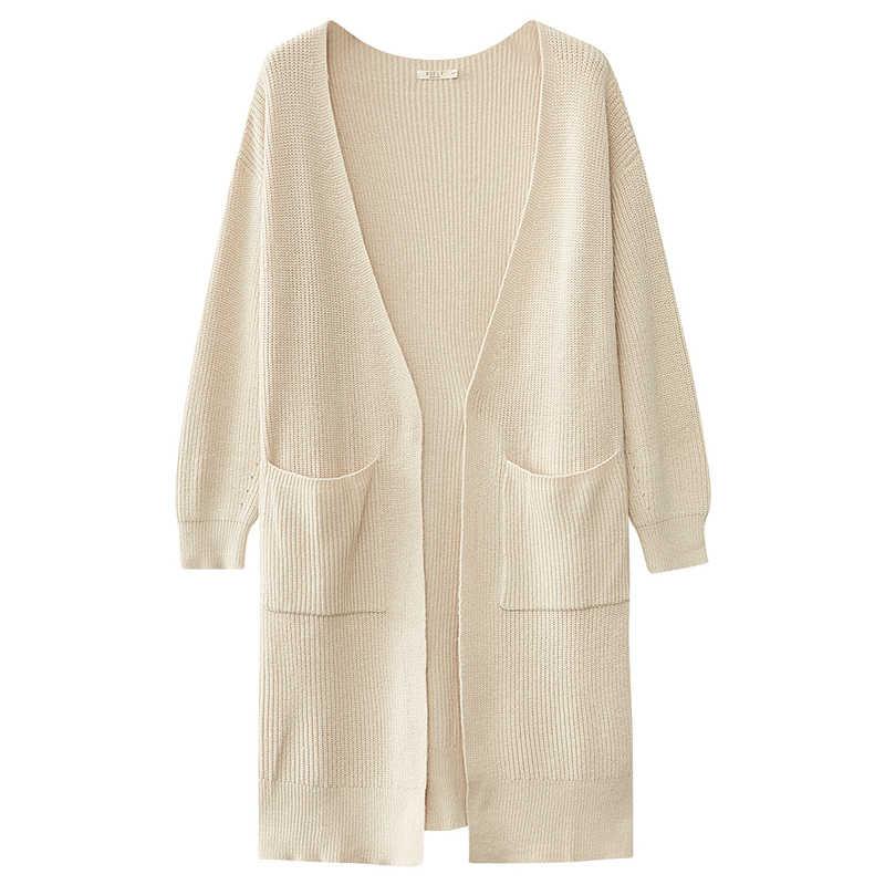 Metersbonweถักเสื้อสเวตเตอร์ถักผู้หญิง 2020 ฤดูใบไม้ผลิฤดูใบไม้ร่วงสีทึบกลางความยาวเสื้อสเวตเตอร์ถักแฟชั่นสำหรับหญิง