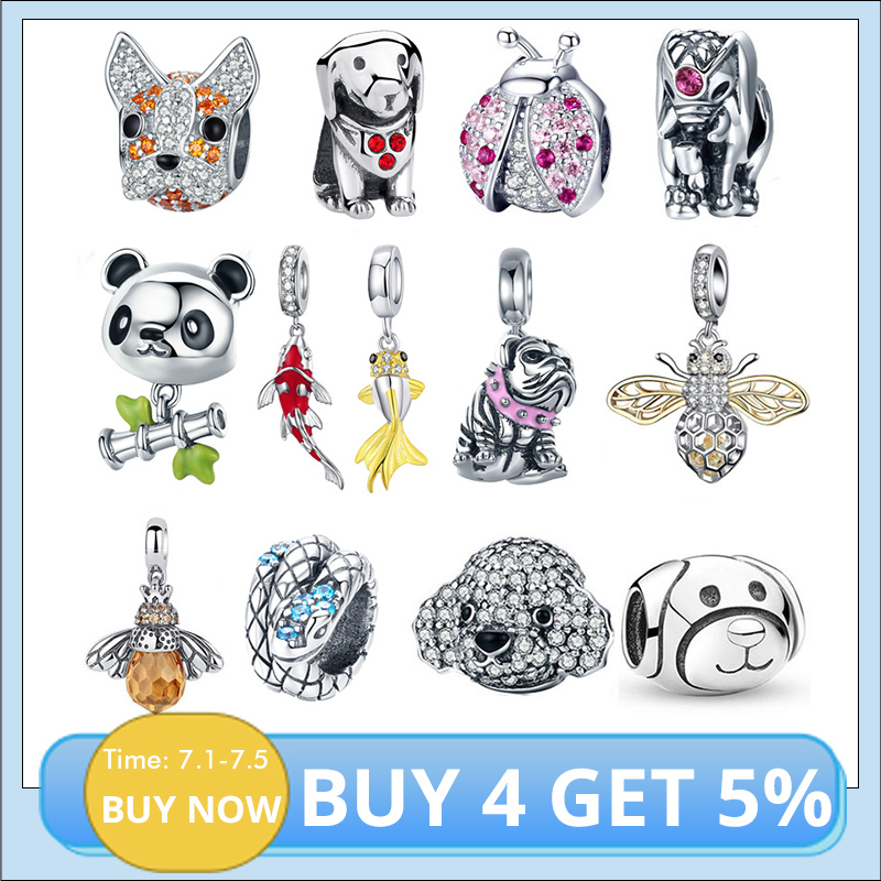925 Sterling Silver Ladybug Cat Bulldog Turtle Elephant Animal Bee Tortoise Charms Beads Fit Bracelet DIY Beads Jewelry Making