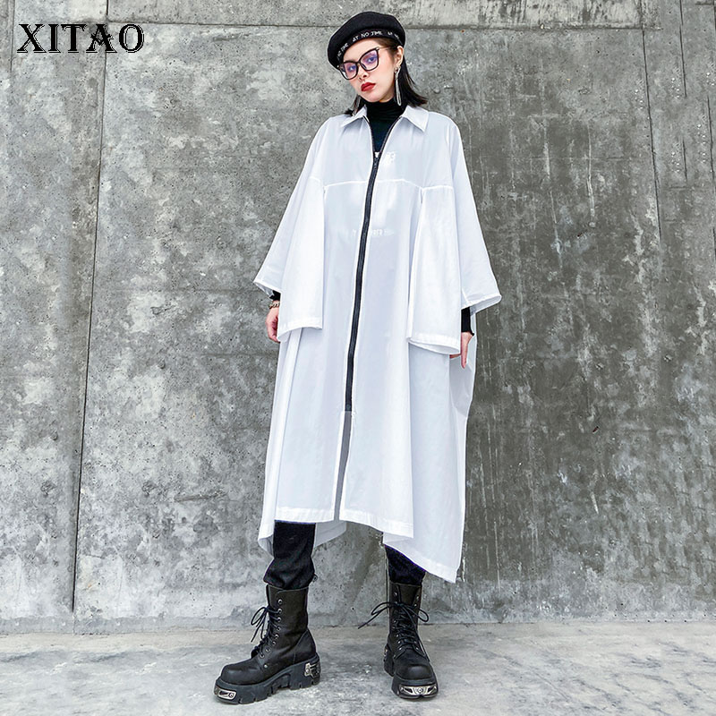 XITAO Darkness Style Windbreaker Mid-length Trench Coat For Women Polo Collar Plus Size Trend Streetwear Oversized Tops DMY3169