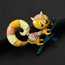 D&Rui Jewelry 2019 Enamel Pink Squirrel Animal Brooch Daily Supplies Fashion Zinc Alloy Cute Cartoons Brooches Pins for Dresses