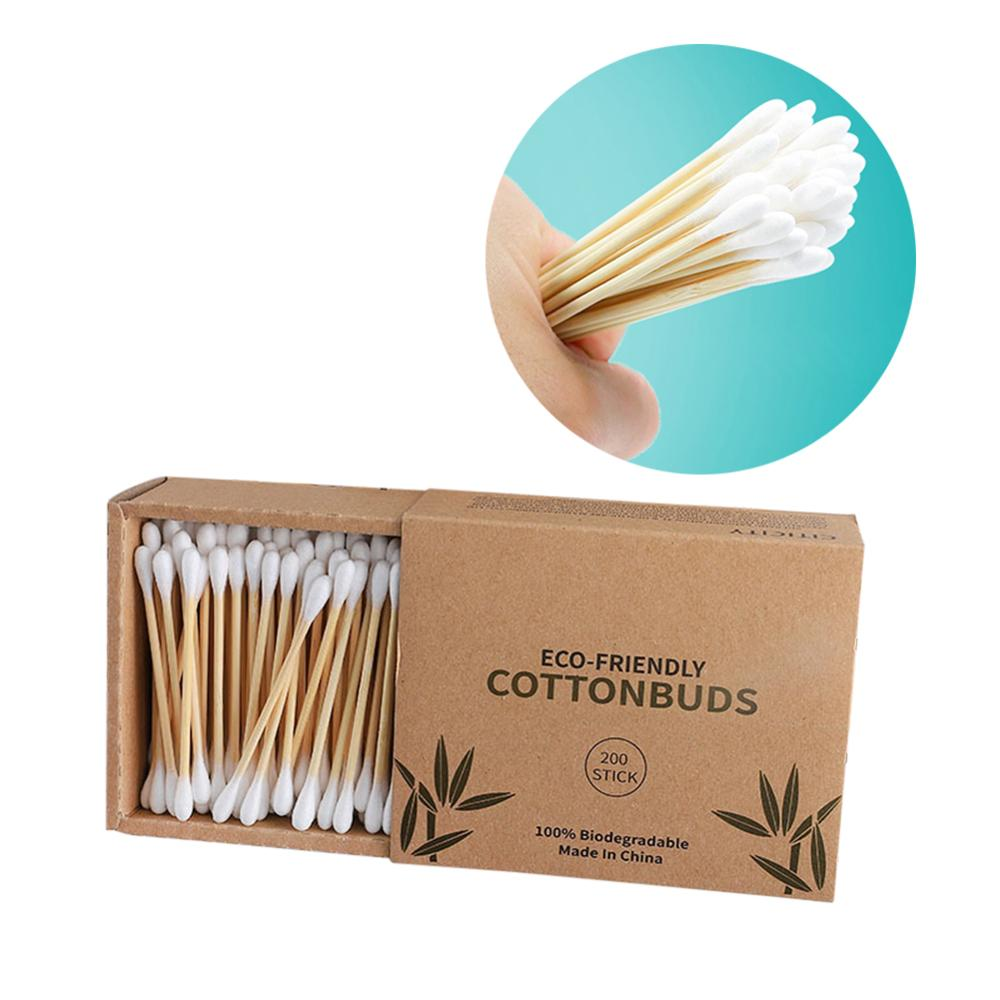 100/200/300pcs Double Head Cotton Swab Bamboo Cotton Swab Wood Sticks Disposable Buds Cotton Nose Ears Cleaning