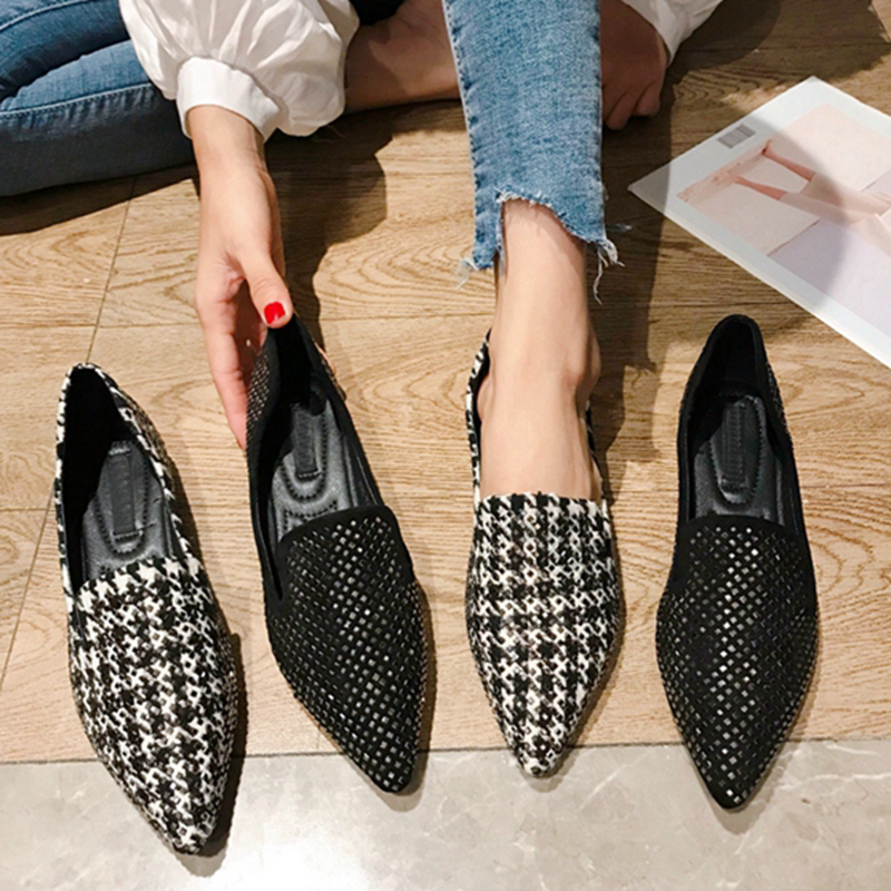 Women Flats Shoes 2020 Fashion Rhinestone Loafers Slip on Flat Shoes Pointed Toe Casual Female Flats Zapatos De Mujer