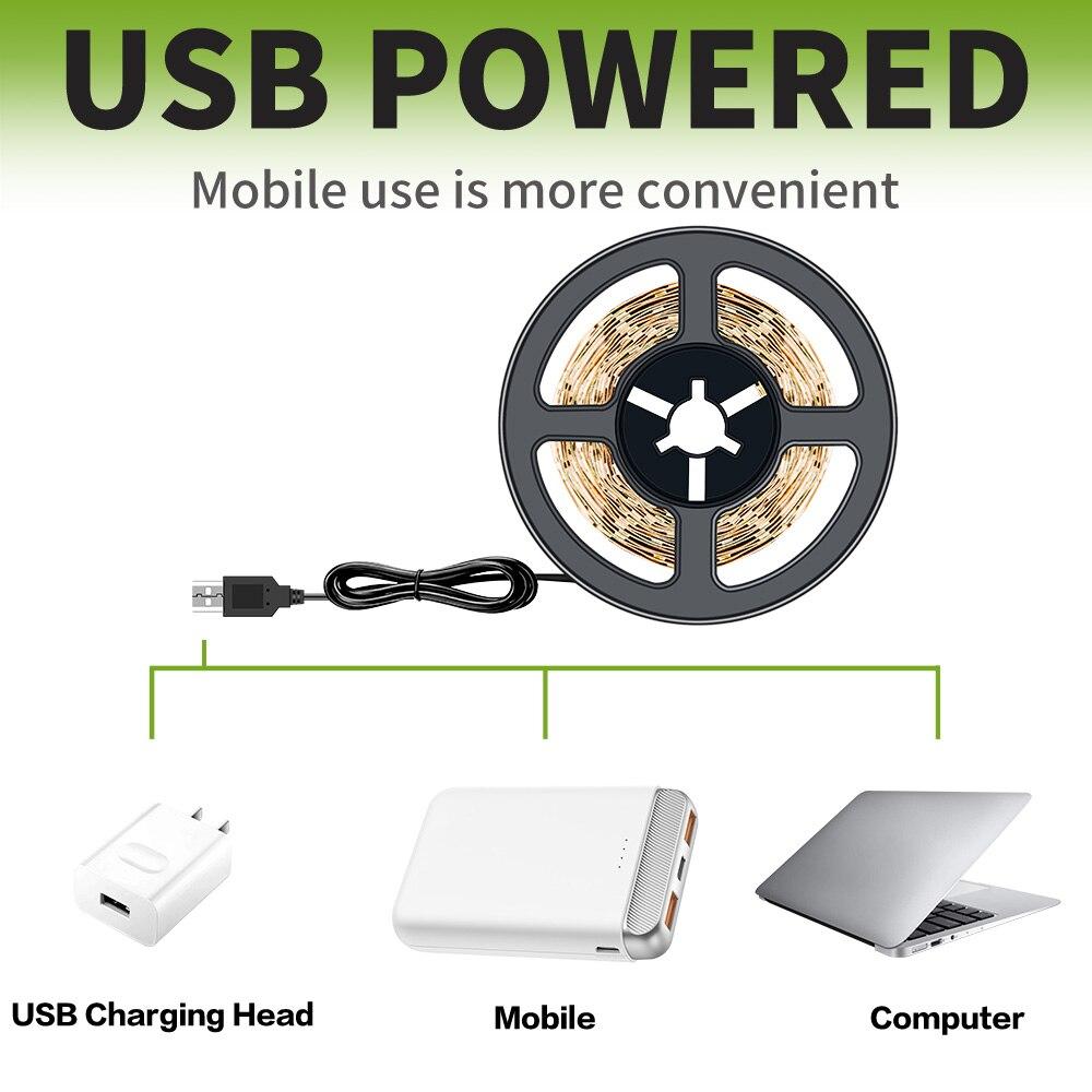 USB LED Strip Lights SMD 2835 5V 0.5M//1M//2M//3M//4M//5M Holiday TV Background Lamp