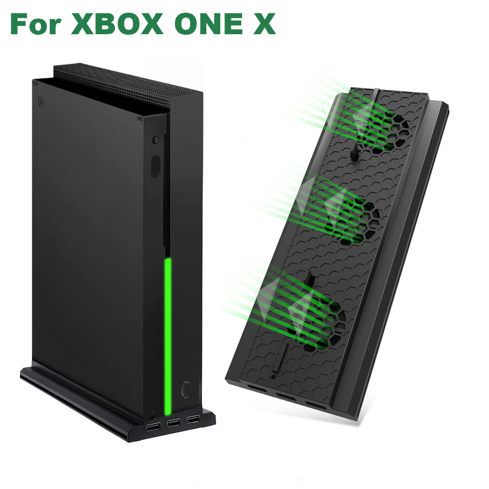 Dikey stant Xbox One X için oyun konsolu Gamepad Controle soğutma fanı ile 3 USB bağlantı noktası desteği Xbox One için şarj denetleyici