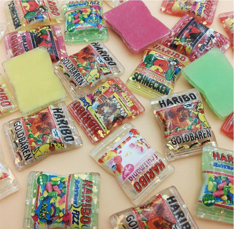 Wholesale !kawaii Japan Sweet Candy Glitter Haribo Candy Flatback Resin Cabochon Scrapbooking Hair Clips BOW DIY Accessories