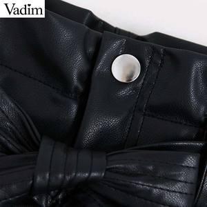 Image 3 - Vadim women pu leather black shorts zipper fly elastic waist pockets female casual shorts bow tie sashes pantalones cortos SA190
