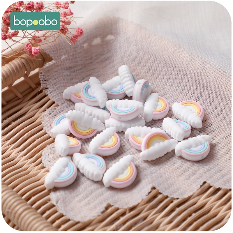 Bopoobo 50pc Silicone Pearl Cloud Beads For Baby Rattle Toys Silicone Teething Rodent Baby Teether Gifts Tiny Rod Baby Product