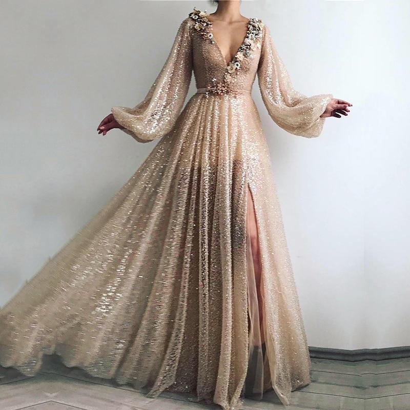 Шикарное Золотое мусульманское Формальное вечернее платье с цветами, v образным вырезом, бисером и блестками, а силуэта, арабское, с длинными рукавами, вечернее платье 2020|Вечерние платья|   | АлиЭкспресс