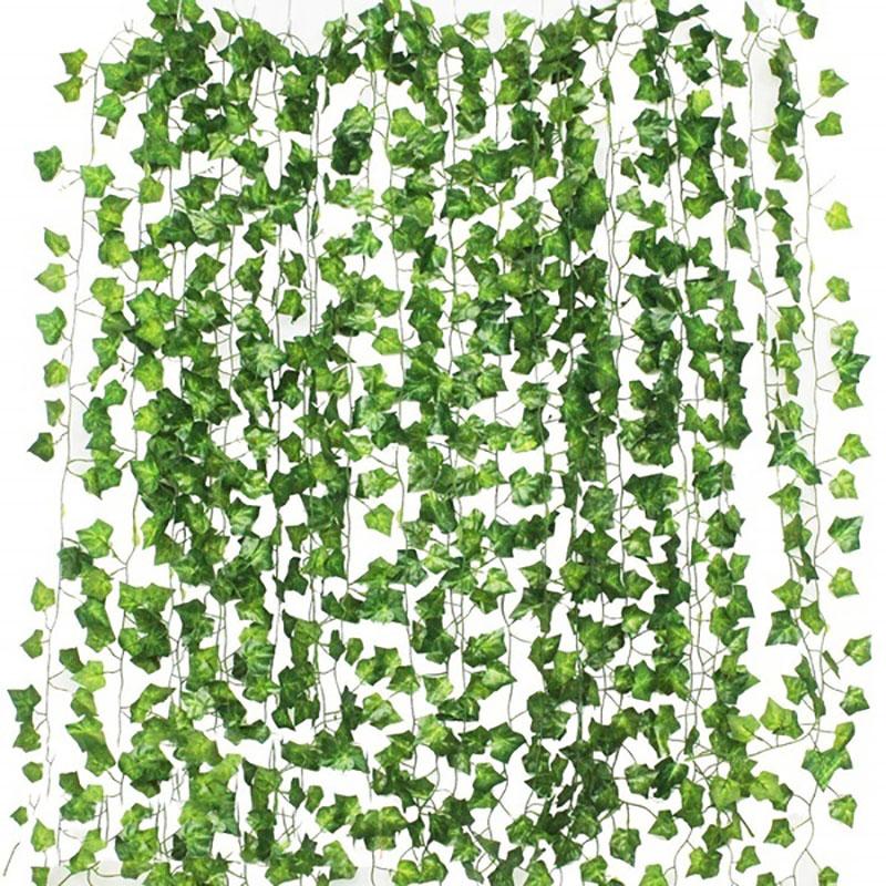 2,2-2,4 m искусственный оставить гирлянда поддельные зеленых листьев плюща лоза искусственные растения настенная подвесная гирлянда Свадебна...