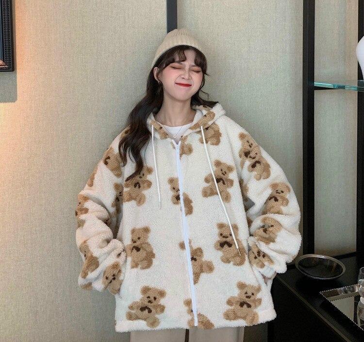 Übergroßen Hoodie Dicken Lamm Wolle Bär Mantel Zipper Langarm Harajuku Lose Kawaii Kleidung Korea Sweatshirt Tasche Frauen Hoodie