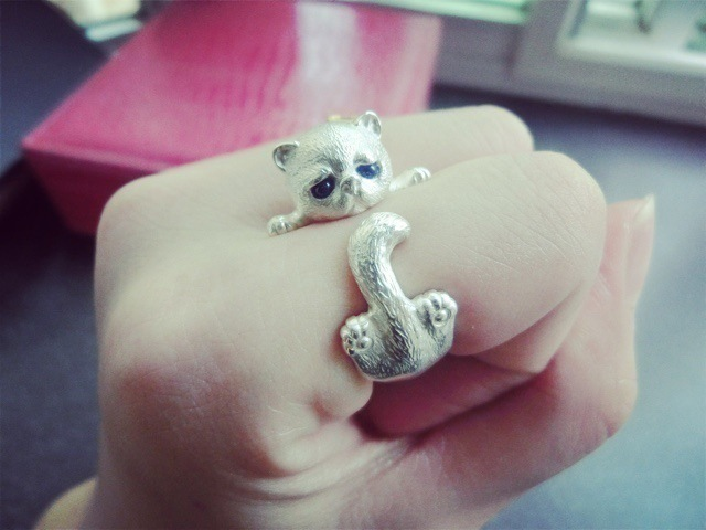 Glamour Wrapped Cat Open Ring Female Handmade Original Fashion Girl Prevents Allergic Silver Jewels 2