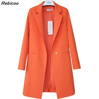 Limited edition 2019 autumn new casual blazer in the long paragraph female solid color Korean women's clothing lancome big color lash top coat limited edition