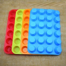 Multi-color thick 24 hole even round silicone cake mold handmade soap ice wax block muffin cup cookie DIY