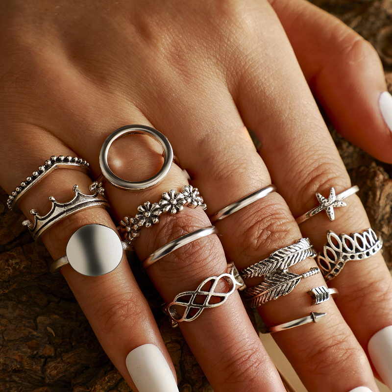 Tocona 13pcs/sets Vintage Silver Color Geometric Ring Sets for Women Charm Wave Flowers Starfish Bohemian Jewelry кольца 14820
