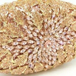 Image 2 - Boutique De FGG Champagne Peach Color Women Crystal Bags Evening Purse Metal Hardcase Wedding Party Minaudiere Handbag Clutch