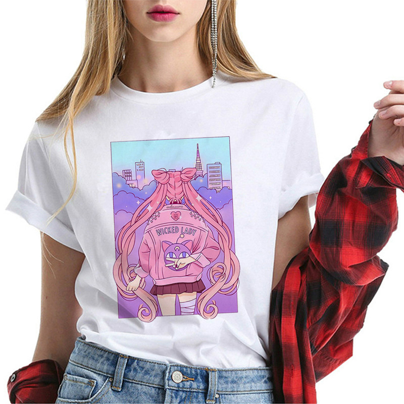 Summer New Fashion T-shirt Ladies Harajuku Short Sleeve Fun T-shirt Cute Cat T-shirt Cartoon Top Tee Women Chemise Jersey