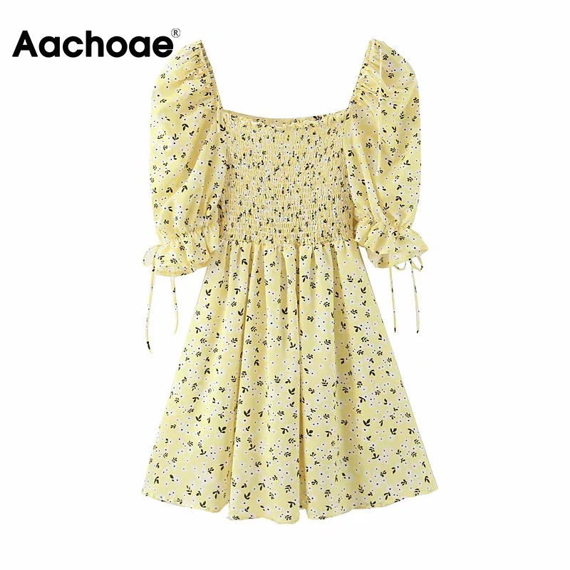 Aachoae Sweet Floral Print Mini Dress Women Elegant Bow Tie Stretch Pleated Dresses Square Collar Short Sleeve Party Dress