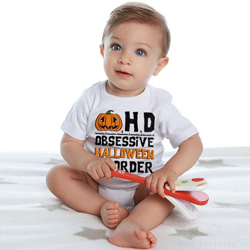Macacões infantis HD letras impressas abóbora dos desenhos animados na moda Europeus e Americanos gola redonda manga curta subir roupas