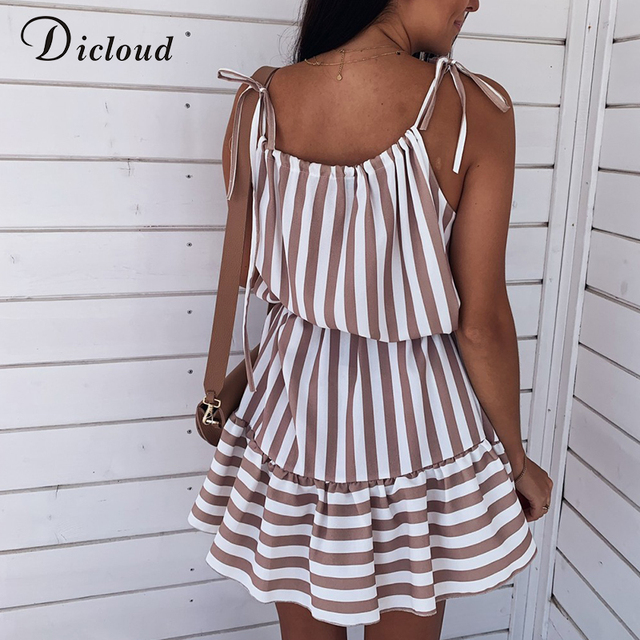 Casual Strip Mini Dress Women Spaghetti Strap