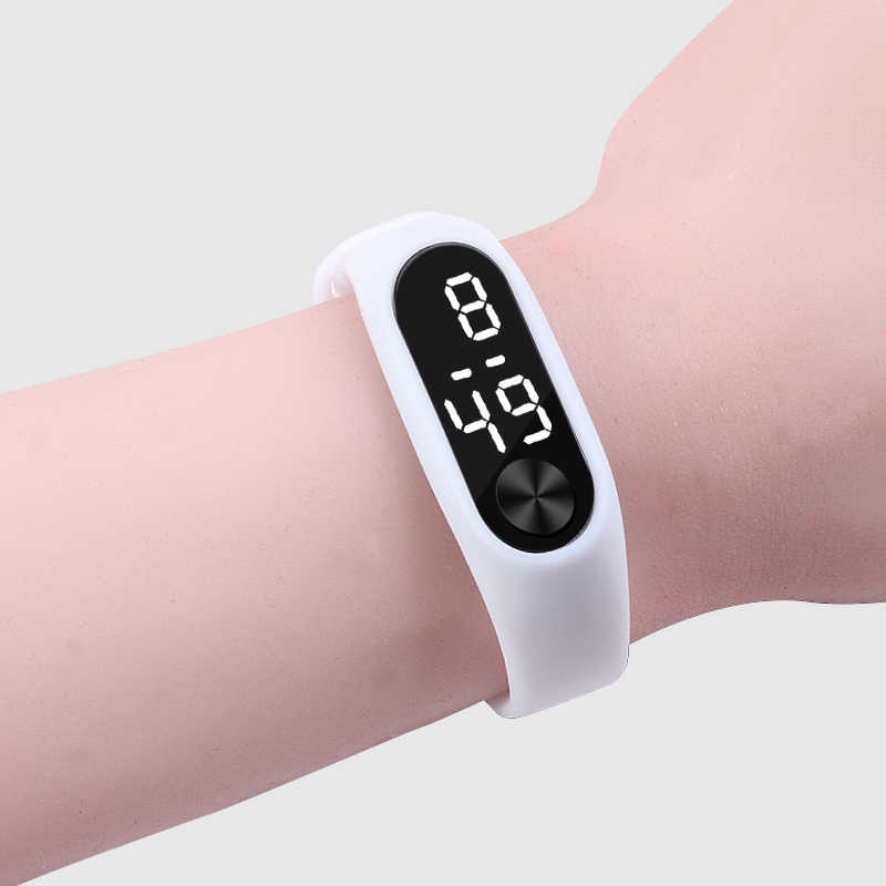 אופנה גברים דיגיטלי שעונים נשים צמיד מזדמן ספורט לבן LED אלקטרוני סוכריות סיליקון שעון יד לילדים ילדים