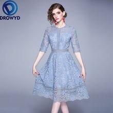 Женское кружевное платье миди с коротким рукавом и круглым вырезом