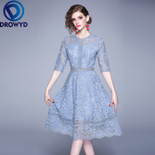 Lace Midi Dress for Women Autumn Korean Casual Short-sleeved O-neck Fashion Boho Elegant Club Evening Party Vestidos