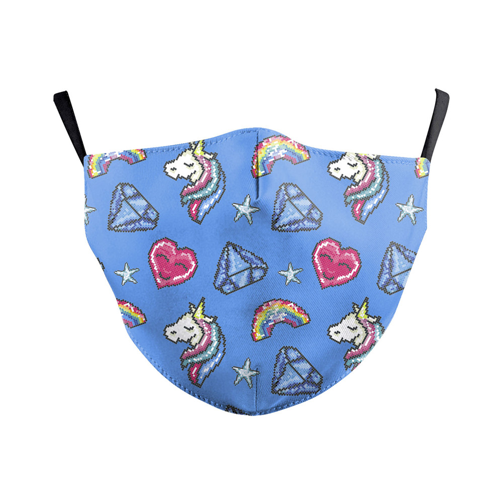 Face Mask Print Blue Cartoon Cute Unicorn Adult Fabric Mask Washable PM2.5 Air Filter Face Mask Reusable Protective Cover