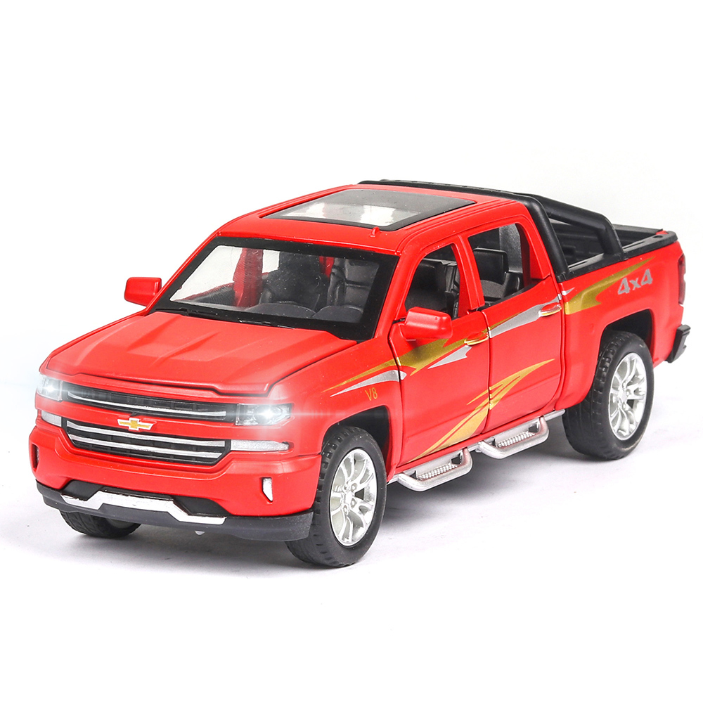 Limited Sales Of Chevrolet Silverado 4x4 1:32 Car Model Diecasts Toy Vehicles Multifunction Sound Light Pull Back Children Toy