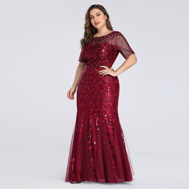 Plus Size Elegant Evening Dresses Mermaid Sequined Lace Appliques Long Dress Party Gowns Formal Dress Women 8XL Evening Gowns 4