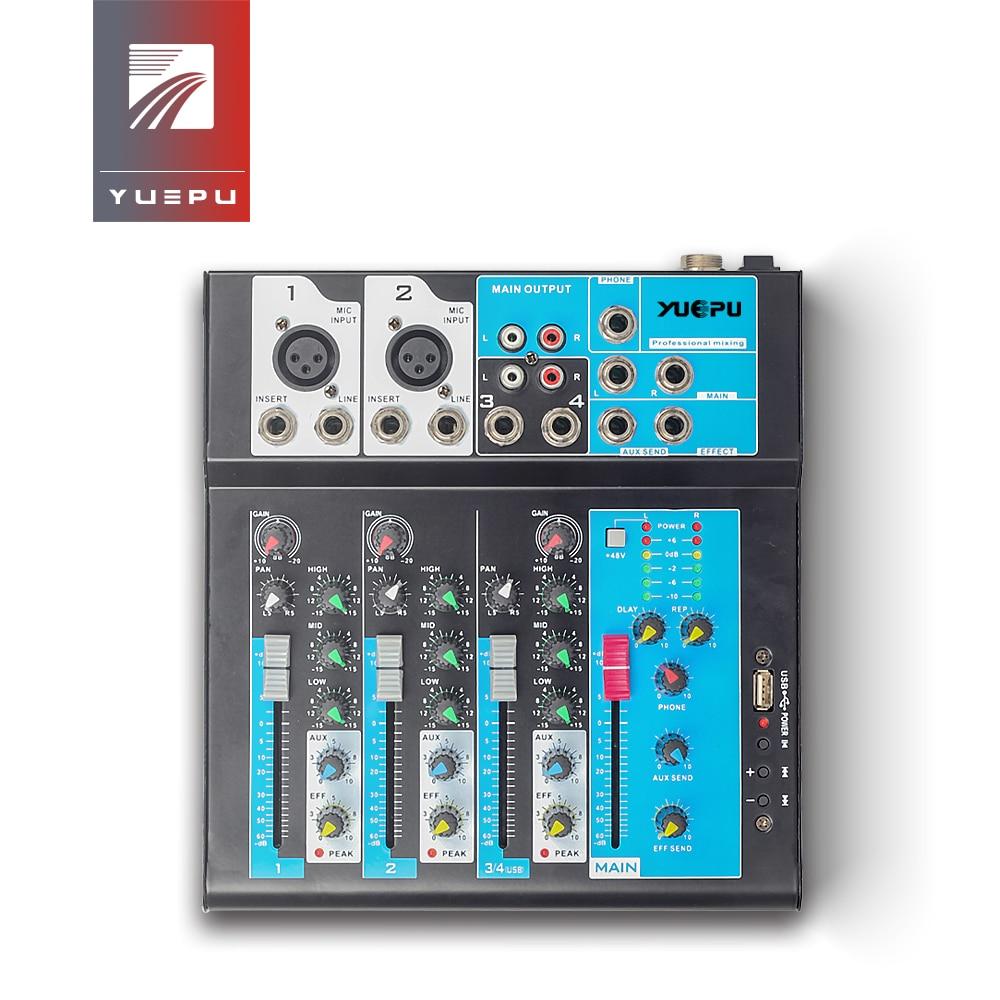 YUEPU RU-F4 son Audio mélangeur professionnel 4 canaux 48V alimentation fantôme réverbération Console de mixage lecteur USB DSP FX effets