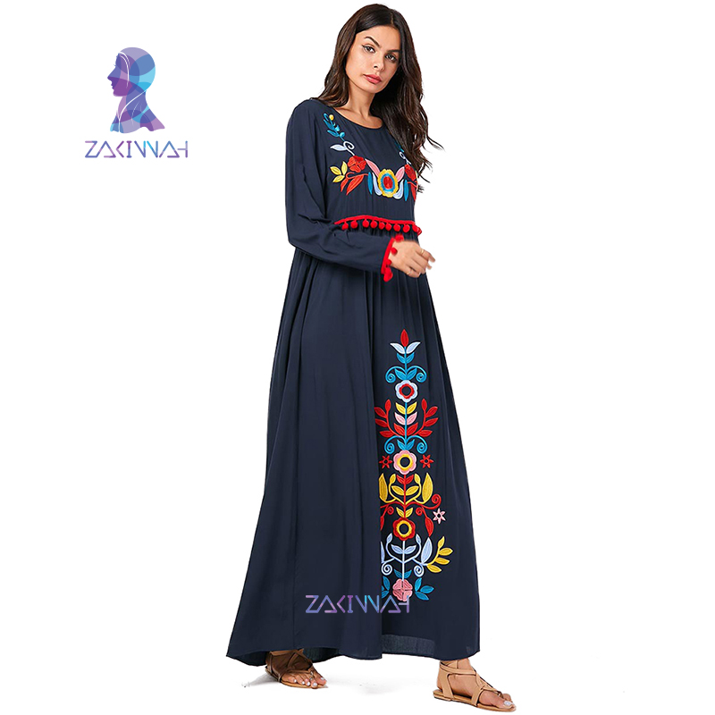 Plus size plant embroidered round neck long-sleeved dress Muslim Women's Abaya