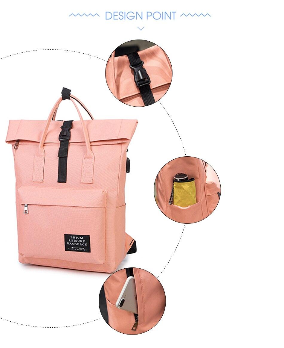 H66d57d3fc61a49a8a39ddd45eb31851c5 TTOU Women External USB Charge Backpack Canvas School Backpack Mochila Escolar Girls Laptop Backpack