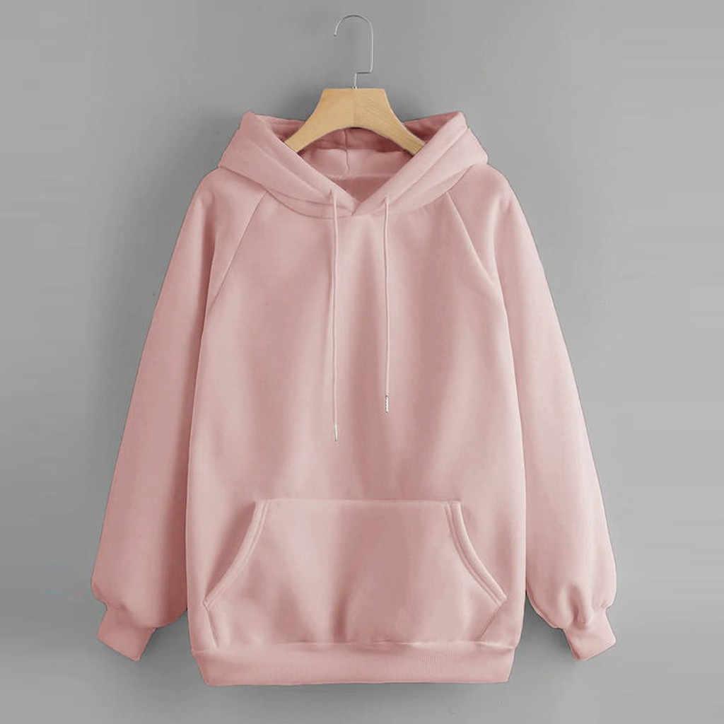Womens amarelo hoodies sweatshirts manga longa pulôver moletom com bolso streetwear oversized hoodie sudadera mujer