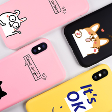 KSTUCNE Cute Case On For iPhone 6 6s 7 8  TPU Silicone Back Cover for X 6S Plus Fashion Funny Matte Soft Cases