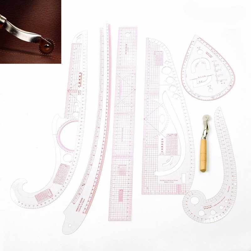 7ชิ้น/เซ็ตไม้บรรทัดTailorวัดชุดClearเย็บไม้บรรทัดYardstickแขนฝรั่งเศสCurveชุดไม้บรรทัดตัดPaddle Whee