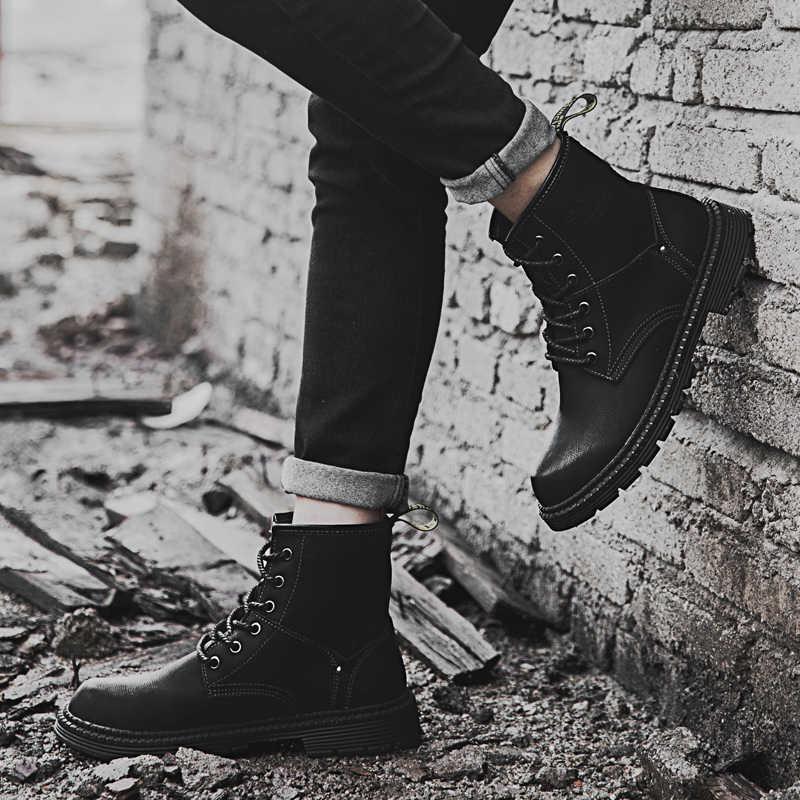 Модные мужские ботильоны; сезон зима-осень; повседневные мужские мотоциклетные уличные ботинки; мужские кожаные мартинсы; оксфорды; Теплая мужская обувь